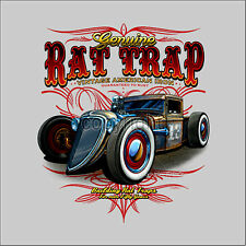COCHE OLDTIMER CLASSIC COCHE Rat TOD Pinstriping CAMISETA VINTAGE 1132-ls Azul