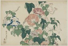 MORNING GLORIES IN FLOWERS & BUDS by Katsushika Holusai - A4 or A3