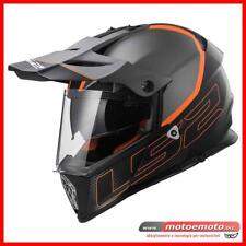 LS2 Casco Moto Integrale Enduro MX436 Pioneer Element Nero Titanio Arancio Matto