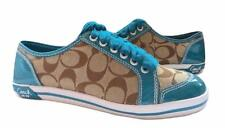 New NIB Coach Brodi Signature Khaki Teal Blue Signature Patent Leather Sneakers