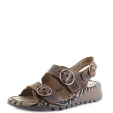 Womens Fly London Tear Bridle Camel Leather Flat Low Wedge Sandals Sz Size