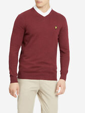 LYLE & SCOTT COTTON/MERINO V-NECK JUMPER CLARET JUG, NEW! MOD-SKINHEAD-CASUAL