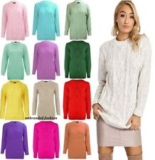 Womens Chunky Cable Knit Jumper Pullover Ladies Sweater Top