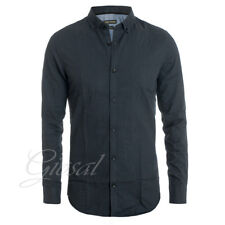 Camicia Uomo Colletto Blu Bottoni Fantasia Micro Quadretti Slim Fit Casual GI...