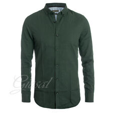 Camicia Uomo Colletto Bottoni Fantasia Micro Quadretti Verde Slim Fit Casual ...