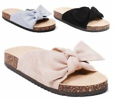 LADIES SUMMER SLIP ON PEEPTOE FAUX SUEDE FOOTBED WEDGE MULE SANDALS SLIPPERS 3-8
