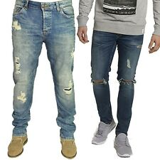ONLY & SONS MENS MED BLUE SLIM FIT RIPPED JEANS STRETCH STRAIGHT LEG SIZE 28-36