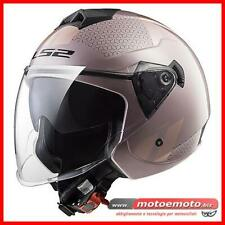 Ls2 Casco Moto Scooter Donna Jet OF573 Twister Combo Pale rosa Doppia Visiera