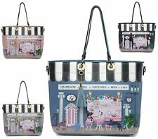 LADIES WOMENS FAUX LEATHER STYLE LARGE SHOPPER BUCKET CAFE PRINT SHOULDER BAG