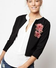 'DANAE' BLACK SHORT THROW ON BLAZER JACKET WITH EMBROIDERED FLOWER / SIZE S