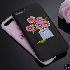 Fashion 3D Embroidery Flower Phone Case Protective Cover For Apple iPhone 8 7