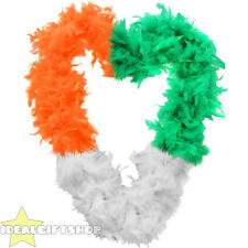 IRISH TRI-COLOUR FEATHER BOA ST PATRICK DAY SUPPORTER FANCY DRESS ACCESSORY LOT