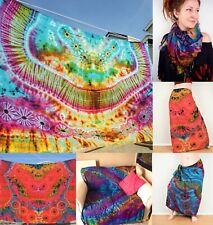 Tie Dye Sarong Scarf Psychedelic Throw Wall Hanging Beach Cover Up Bikini Wrap
