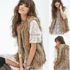 Women Casual Front Stitch Sleeveless Solid Faux Fur Waistcoat Vest Autumn C5 03