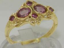 Solid 9ct Yellow Gold Natural Pink Tourmaline Vintage style Band Ring