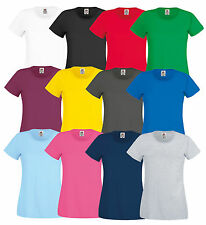 FRUIT OF THE LOOM DONNA LADY-FIT T-SHIRT ORIGINALE Maglietta div. mod. COLORI
