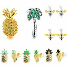 Fruit Pineapple Coco Bee Pearl CZ Ear Stud Asymmetric Earrings Spring Jewellery