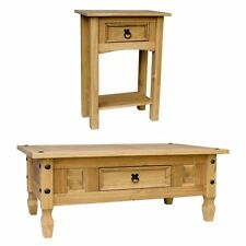 Corona Coffee Table With Drawer, Console Table - Mexican Pine Furniture