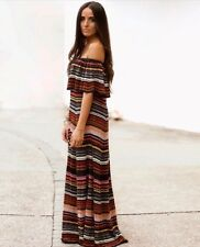 Zara Multicoloured Striped Long Maxi Dress Size M UK 10-12