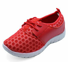 BOYS GIRLS KIDS CHILDRENS RED SCHOOL TRAINERS LACE FLAT SPORTS SHOES SIZES 10-3