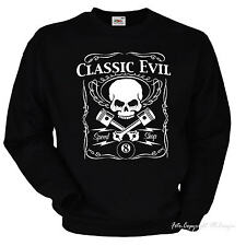 Sweatshirt AUTO SPORTIVA Speed Shop Kustom TESCHIO MOTOCICLISTA di Rockabilly