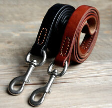 Best Leather Dog Leads for Large Dogs Heavy Duty Training Leash Clip Black Brown
