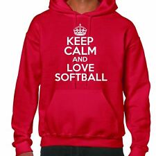 Keep Calm and Love SOFTBALL Felpa con cappuccio
