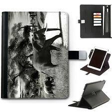 HAIRYWORM BLACK AND WHITE ELEPHANT 360 SWIVEL LEATHER APPLE IPAD CASE, COVER