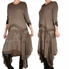 2tlg LAGENLOOK WINTER STRICK MAXI KLEID TUNIKA PULLOVER SCHAL 44 46 48 50 L XL