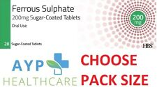Ferrous Sulphate 200mg Tablets (Iron Tabs) - CHOOSE PACK SIZE (Suitable for Veg)