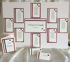 HANDCRAFTED WEDDING TABLE PLAN TABLE NUMBERS & PLACE CARDS FOR 120 GUESTS HEARTS