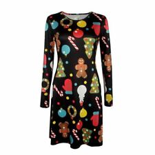 Women Colorful Print Autumn Wear Long Sleeve Printed Pattern Casual Tunic Dress
