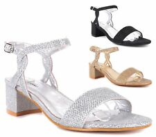 WOMENS GLITTER SLINGBACK BUCKLE BLOCK HEEL SANDALS LADIES PEEP TOE PARTY SHOES