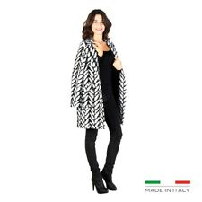 Cappotto donna Nero Bianco Fontana 2.0 72841 made in Italy tasche outlet moda1