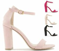 LADIES HIGH BLOCK HEEL ANKLE BUCKLE PEEP TOE SUMMER FAUX SUEDE SANDALS SHOES