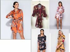 Womens Ladies Silk Satin Floral Belted Buton Long Line Collared Top Shirt Dress