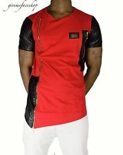 Time Is Money ROSSO zip-stella Club T Shirt ,Urban rap hip hop G similpelle Uomo