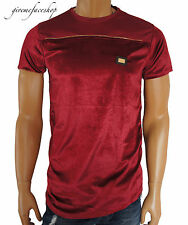 Time Is Money zip, velluto Club T-shirt, G uomo Hip Hop burgundy star tees Bling