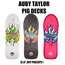 BLACK LABEL AUBY TAYLOR HAND SCREENED PIG SHAPE 10.375 SKATEBOARD DECK NEW LTD