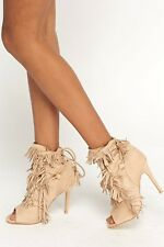 Womens Ladies Beige Faux Suede High Heel Fringe Peep Toe Shoes Size UK 5,8 New