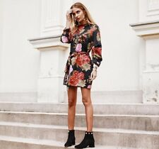 Zara Black Floral Printed Mini Dress With Full Sleeves Size XS, S, M, L