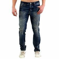 JACK & JONES uomo slim denim jeans pantaloni o TIM FRANCO Blue 161000