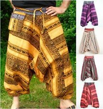 Elephant Pattern Unisex Harem Trousers Thai Hill Tribe Hand Woven Aladdin Pants