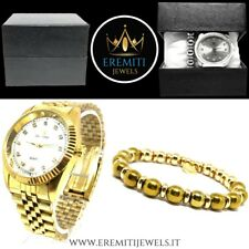 OUTFIT COMPLETO OROLOGIO BRACCIALE PIETRA NATURALE IDEA REGALO STAINLESS STEEL