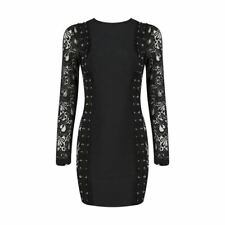 Women See Through Black Color Lace Design Club Party Wear Mini Bodycon Dress