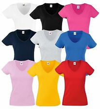 FRUIT OF THE LOOM DONNA LADY-FIT T-SHIRT SCOLLO A V div. mod. colori xs - 2XL