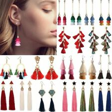 Boho Ethnic Long Tassel Rhinestone Dangle Drop Hook Ear Stud Earrings Jewellery