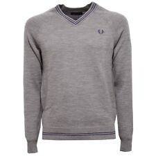 6971V maglione uomo FRED PERRY wool grey v-neck sweater man