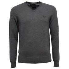 6862V maglione uomo FRED PERRY wool grey v-neck sweater man