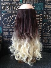 """Hair Extensions Ombre Wavy Halo Headband Invisible Wire Hidden Secret 20"""" 140g"""